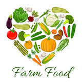 Farm Food vegetables icons in heart shape Stock Image