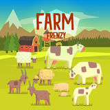 Farm Frenzy Illustration With Field Full Of  Animals Royalty Free Stock Images