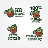Farm fresh badges and cartoon strawberry character Stock Photography
