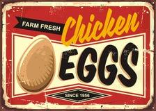 Farm fresh chicken eggs vintage promotional sign royalty free illustration