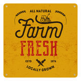 Farm fresh, eco food poster. All natural, locally grown. Local product logo designs Typographic insignia in retro style Royalty Free Stock Images