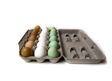 Farm fresh eggs. Carton of fresh farm eggs. Brown, white, and green Royalty Free Stock Photos