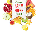 Farm fresh emblem with type design and fruits Royalty Free Stock Photography