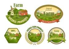 Farm fresh emblems set Stock Photos