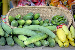 Farm fresh food in a basket at a local market Royalty Free Stock Image