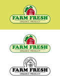 Farm Fresh Food Label with Red Barn Vector Illustration Royalty Free Stock Image