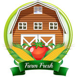 A farm fresh label with a brown barnhouse, a tomato and corns royalty free illustration