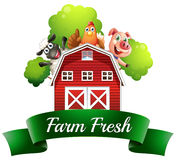A farm fresh label with a farmhouse and farm animals. Illustration of a farm fresh label with a farmhouse and farm animals on a white background Royalty Free Stock Images