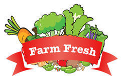 A farm fresh label with fresh vegetables Royalty Free Stock Photos