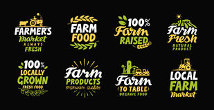 Farm fresh labels. Farmer icon. Farming logo. Organic, natural food collection symbol Royalty Free Stock Photography