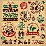 Farm fresh labels. Organic Farming isolated vector sign set. Farmer. Royalty Free Stock Images