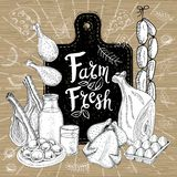 Farm fresh market, logo design, healthy food shop. Organic food set. Good nutrition. Farm fresh market, logo design healthy food shop. Meat, milk, eggs stock illustration