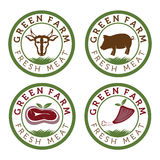 farm and fresh meat vintage labels Royalty Free Stock Images