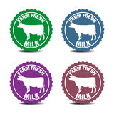 Farm fresh milk stickers stock photos