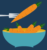 Farm fresh organic carrots with leaves. Blue plate concept vector illustration