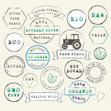 Farm Fresh Organic Stamps Set Stock Photography