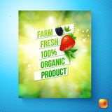 Farm fresh 100 percent organic product vector card. Farm fresh 100 percent organic product colorful green label or poster with text in boxes and fresh berries stock illustration