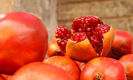 Farm Fresh Pomegranates for Sale Royalty Free Stock Image