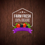Farm fresh poster. Wooden background, typography design. Stock Images