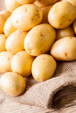 Farm fresh  potatoes on a hessian sack Stock Photos