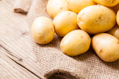 Farm fresh  potatoes on a hessian sack Stock Images