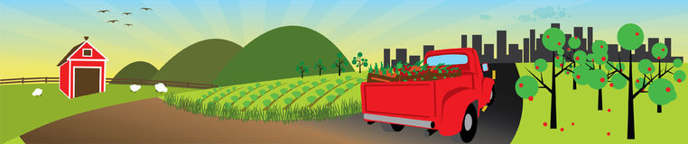 Farm Fresh Produce. Truck transporting produce to the city from the farm stock illustration