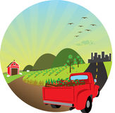 Farm Fresh Produce Illustration. Truck transporting produce to the city from the farm stock illustration