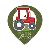 Farm fresh product label of farmer tactor vector icon template Royalty Free Stock Photos