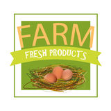 Farm Fresh Products. Vector Eco Label for Shop, Market, Store. Royalty Free Stock Photo