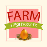 Farm Fresh Products. Vector Eco Label for Shop, Market, Store. Royalty Free Stock Photos