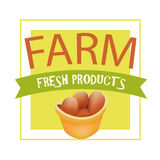 Farm Fresh Products. Vector Eco Label for Shop, Market, Store. Stock Images