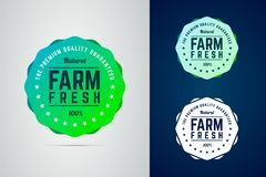 Farm fresh round badge. The premium quality product. Vector badge in trendy gradient style in three color variants for eco, green, natural products royalty free illustration
