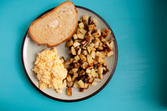 Farm fresh scrambled eggs and goat cheese Royalty Free Stock Photo