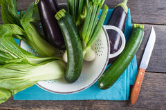 Farm fresh spring vegetables in rustic colander from above Stock Images