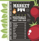 Farm Fresh Vegetables Market Price List Template Royalty Free Stock Images