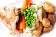 Farm fresh vegetables, roasted chicken and fingerling potato Royalty Free Stock Image