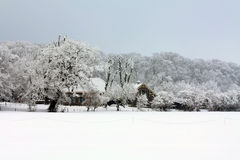 A farm in a frosted winter forest Stock Photography