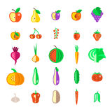 Farm fruits and vegetables flat vector icons set Royalty Free Stock Photo