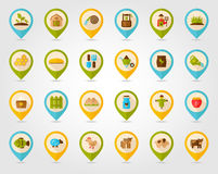 Farm Garden flat mapping pin icon with long shadow Royalty Free Stock Photography