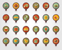 Farm Garden flat mapping pin icon with long shadow. Eps 10 Stock Photography