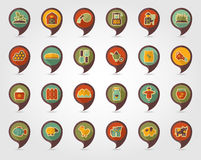 Farm Garden flat mapping pin icon with long shadow Stock Photo