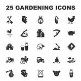 Farm, gardening 25 black simple icons set for web Stock Images