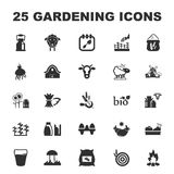 Farm, gardening 25 black simple icons set for web Royalty Free Stock Images