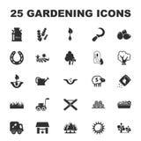 Farm, gardening 25 black simple icons set for web Stock Photo