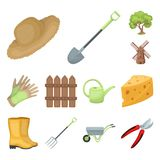 Farm and gardening cartoon icons in set collection for design. Farm and equipment vector symbol stock web illustration. Farm and gardening cartoon icons in set Royalty Free Stock Images