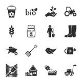 Farm, gardening 16 icons universal set for web and mobile. Flat royalty free illustration