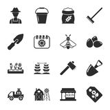 Farm, gardening 16 icons universal set for web and mobile. Flat Stock Illustration