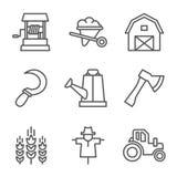 Farm, gardening, nature. Flat line style icons Stock Image