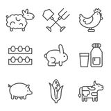 Farm, gardening, nature. Flat line style icons Royalty Free Stock Images