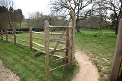 Farm Gate. Rustic Traditional Farm Gate - Entrance to the Orchard at Woolsthorpe Manor - Isaac Newton's Birthplace Royalty Free Stock Photography